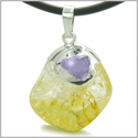 Brazilian Lucky Tumbled Citrine Crystal and Tumbled Amethyst Money Amulet Charm Dipped in Silver Pendant Necklace