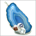 Brazilian Lucky Agate Blue Laguna Slice with Multi Tumbled Gemstones Unique Crystal Charm  Dipped in Silver Pendant