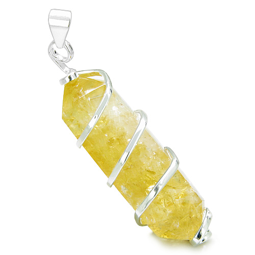 Brazilian crystal point citrine wand amulet wrapped in infinity brazilian crystal point citrine wand amulet wrapped in infinity style silver electroplated setting pendant on 18 aloadofball Choice Image