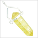 Brazilian Lucky Citrine Crystal Point Swinger Business Attractor Amulet Gemstone Dipped in Silver Electroplated Pendant