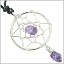Brazilian Amulet Amethyst Crystal Dreamcatcher Lucky Charm Good Luck Powers Silver Electroplated Pendant Necklace