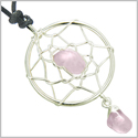 Brazilian Amulet Rose Quartz Crystal Dreamcatcher Lucky Charm Love and Protection Powers Silver Electroplated Pendant Necklace