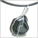 Brazilian Tumbled Black Tourmaline Lucky Charm Amulet Gemstone Caged in Silver Electroplated Wire Pendant Necklace