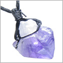 Brazilian Large Crystal Point Rough Amethyst Travel Protection Lucky Charm Amulet Gemstone Lucky Charm Amulet Pendant Necklace