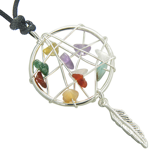f42d80f38 Brazilian Lucky Multi Crystals Native Dream Catcher Gemstones Amulet Pendant  on Adjustable Necklace