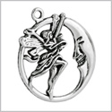 20 Pieces Guardian Fairy Angel and Moon Circle Charms Findings Jewelry Pendants Necklace Making 30 X 27mm