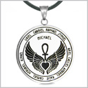 Archangels 12 Guardian Angels Medallion Wings Heart Ankh Life Power Magic Amulet Pendant Leather Necklace