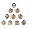20 Pieces Happy Face Super Star Lucky Charms Findings for Jewelry Pendants Necklace Making 22mm X 19mm