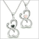 "Amulets Infinity Hearts ""Linked Forever"" Love Couple or Best Friends Set Eternity Black Onyx Light Pink Cat's Eye Necklaces"