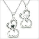 "Amulets Infinity Hearts ""Linked Forever"" Love Couple or Best Friends Set Eternity Black Onyx White Cat's Eye Necklaces"