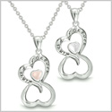 "Amulets Infinity Hearts ""Linked Forever"" Love Couple or Best Friends Set Eternity White and Light Pink Cat's Eye Necklaces"