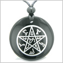 Magical Earth Theban  Pentacle Powerful  Protection Amulet Black Onyx Magic Gemstone Circle Spiritual Powers Pendant Necklace