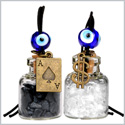 Ace and Magic Dollar Symbol Powers Small Car Charms Home Decor Gem Bottles Quartz Black Obsidian Amulets