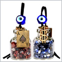Ace and Magic Dollar Symbol Powers Small Car Charms or Home Decor Gem Bottles Sodalite Jasper Amulets
