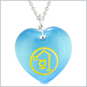 Archangel Raphael Sigil Magic Amulet Planet Energy Puffy Heart Blue Simulated Cats Eye 22 inch Necklace
