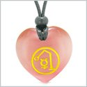Archangel Raphael Sigil Magic Amulet Planet Energy Puffy Heart Pink Simulated Cats Eye Pendant Necklace