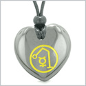 Archangel Raphael Sigil Magic Amulet Planet Energy Puffy Heart Hematite Pendant Adjustable Necklace