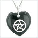 Amulet Magical Pentacle Protection Powers Puffy Heart Energy Black Agate Pendant 18 inch Necklace