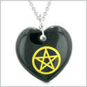 Amulet Magical Pentacle Energy Protection Powers Puffy Heart Black Agate Pendant 18 inch Necklace