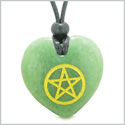 Amulet Magical Pentacle Energy Protection Powers Puffy Heart Green Quartz Pendant Adjustable Necklace
