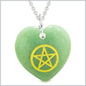 Amulet Magical Pentacle Energy Protection Powers Puffy Heart Green Quartz Pendant 22 inch Necklace