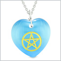 Amulet Magical Pentacle Energy Protection Powers Puffy Heart Sky Blue Simulated Cats Eye 18 inch Necklace