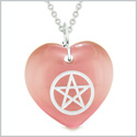 Amulet Magical Pentacle Protection Powers Puffy Heart Energy Pink Simulated Cats Eye 18 inch Necklace
