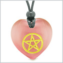 Amulet Magical Pentacle Energy Protection Powers Puffy Heart Pink Simulated Cats Eye Pendant Necklace