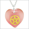 Amulet Magical Pentacle Energy Protection Powers Puffy Heart Pink Simulated Cats Eye 18 inch Necklace