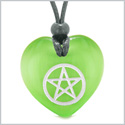 Amulet Magical Pentacle Protection Powers Puffy Heart Energy Green Simulated Cats Eye Pendant Necklace