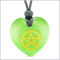 Amulet Magical Pentacle Energy Protection Powers Puffy Heart Green Simulated Cats Eye Pendant Necklace