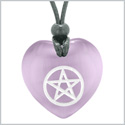 Amulet Magical Pentacle Protection Powers Puffy Heart Energy Purple Simulated Cats Eye Pendant Necklace