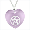 Amulet Magical Pentacle Protection Powers Puffy Heart Energy Purple Simulated Cats Eye 18 inch Necklace