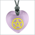 Amulet Magical Pentacle Energy Protection Powers Puffy Heart Purple Simulated Cats Eye Pendant Necklace