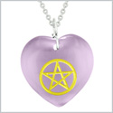 Amulet Magical Pentacle Energy Protection Powers Puffy Heart Purple Simulated Cats Eye 18 inch Necklace