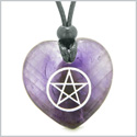 Amulet Magical Pentacle Protection Powers Puffy Heart Energy Purple Quartz Pendant Adjustable Necklace