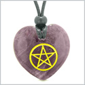 Amulet Magical Pentacle Energy Protection Powers Puffy Heart Purple Quartz Pendant Adjustable Necklace