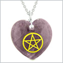 Amulet Magical Pentacle Energy Protection Powers Puffy Heart Purple Quartz Pendant 18 inch Necklace