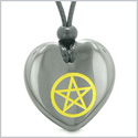 Amulet Magical Pentacle Energy Protection Powers Puffy Heart Hematite Pendant Adjustable Necklace