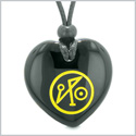 Archangel Michael Sigil Magic Amulet Planet Energy Puffy Heart Black Agate Pendant Adjustable Necklace