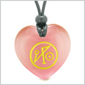 Archangel Michael Sigil Magic Amulet Planet Energy Puffy Heart Pink Simulated Cats Eye Pendant Necklace