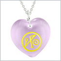 Archangel Michael Sigil Magic Amulet Planet Energy Puffy Heart Purple Simulated Cats Eye 18 inch Necklace