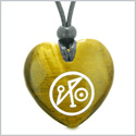 Archangel Michael Sigil Magic Planet Energy Puffy Heart Amulet Tiger Eye Pendant Adjustable Necklace