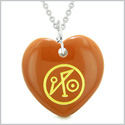 Archangel Michael Sigil Magic Amulet Planet Energy Puffy Heart Red Jasper Pendant 18 inch Necklace