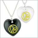 Archangel Uriel Sigil Amulets Love Couples or Best Friends Black Agate White Simulated Cats Eye Necklaces