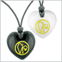 Archangel Uriel Sigil Amulets Best Friends or Love Couples Black Agate White Simulated Cats Eye Necklaces