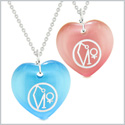 Archangel Uriel Sigil Amulets Love Couples or Best Friends Sky Blue and Pink Simulated Cats Eye Necklaces