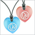 Archangel Uriel Sigil Amulets Best Friends or Love Couples Sky Blue and Pink Simulated Cats Eye Necklaces