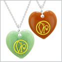 Archangel Uriel Sigil Amulets Love Couples or Best Friends Green Quartz and Red Jasper Necklaces