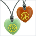 Archangel Uriel Sigil Amulets Best Friends or Love Couples Green Quartz and Red Jasper Necklaces